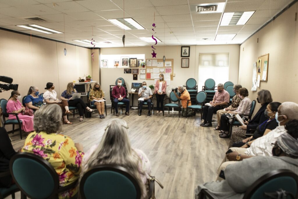 State officials and senior citizens discuss Pennsylvania's food security programs at Crispus Attucks Active Living Center in York on Wenesday, June 23, 2021. (Source: Pa.gov)