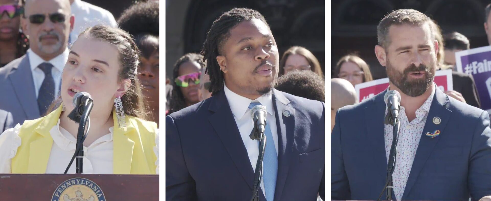 From left, state Reps. Jessica Benham, Malcolm Kenyatta and Brian Sims, the three openly gay members of the state legislature, speak about the Fairness Act during a news conference at the state Capitol on Tuesday, June 15, 2021. (Source: Pa.gov)