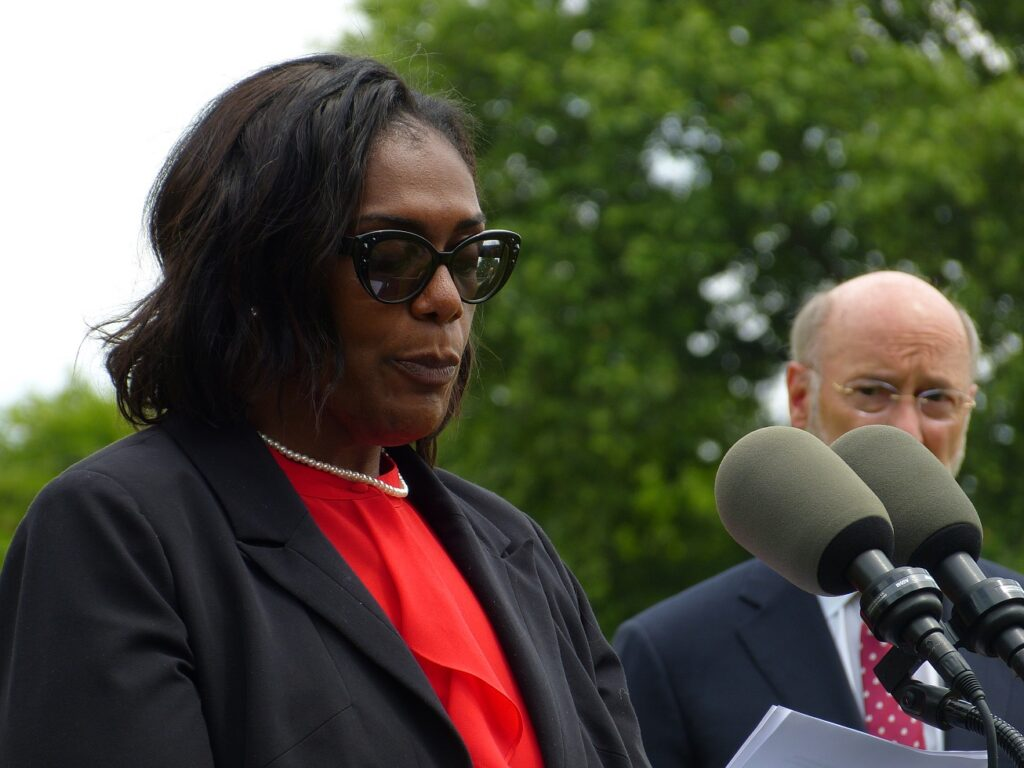 Robin Goodson, vice president of the School District of Lancaster school board, speaks at a media briefing on charter school reform at the high school on Tuesday, June 1, 2021. Money saved through reform could be used to help SDL students, Goodson said; for example, by providing additional buses to reduce the number of students walking long distances. (Photo: Tim Stuhldreher)