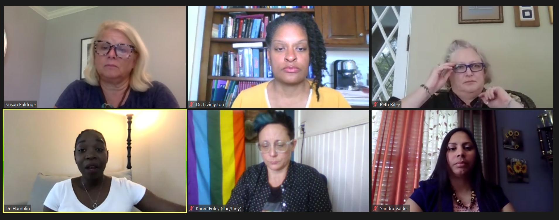Panelists discuss health equity in Lancaster during a Zoom forum on Thursday, June 10, 2021. Top row: Moderator Susan Baldrige, Dr. Sharee Livingston, Beth Riley. Bottom row: Dr. Cherise Hamblin, Karen Foley, Sandra Valdez. (Source: United Way of Lancaster County)
