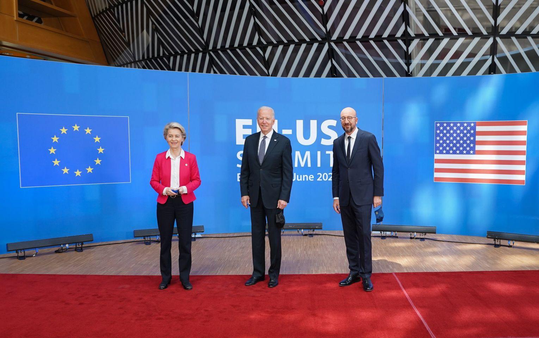President Joe Biden with European Council President Charles Michel and European Commission President Ursula von der Leyen on June 15. (Source: White House)