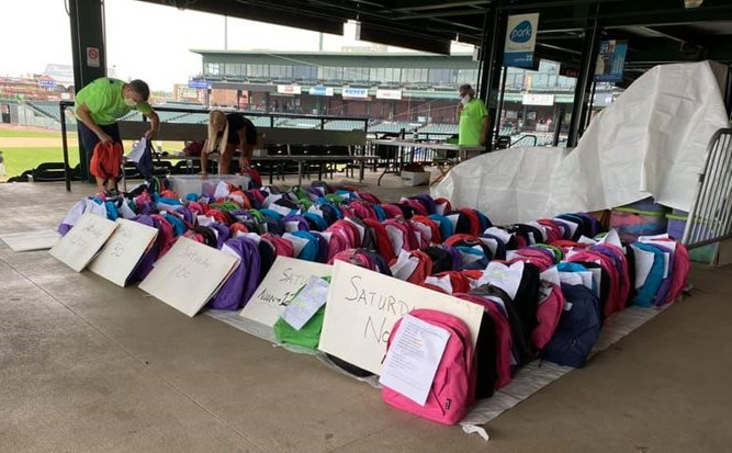Backpacks filled with school supplies are organized at Clipper Magazine Stadium for the 2020 Back to School Giveaway. (Photo: Audrey Lilley)