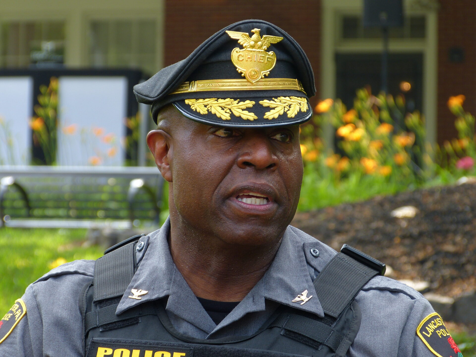 Lancaster police Chief John Bey speaks to the media at Musser Park on Monday, June 21, 2021. (Photo: Tim Stuhldreher)