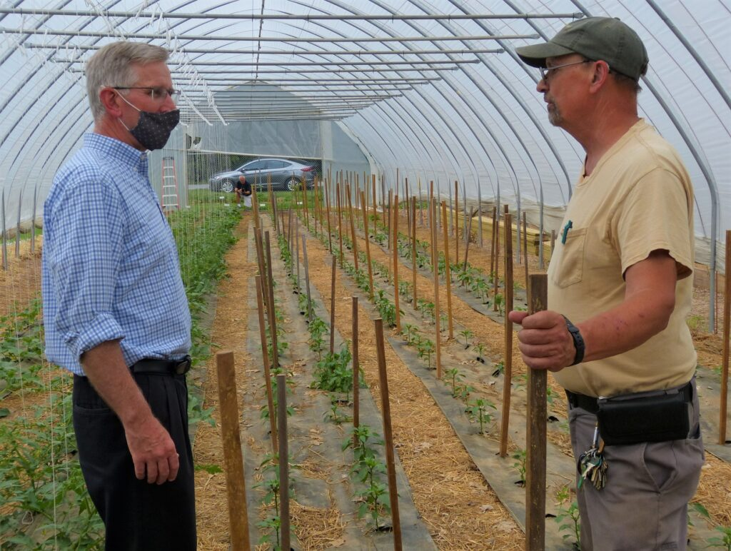 York Fresh Food Farms Manager Bruce Manns, left, and Agriculture Secretary Russell Redding. (Photo: Tim Stuhldreher)