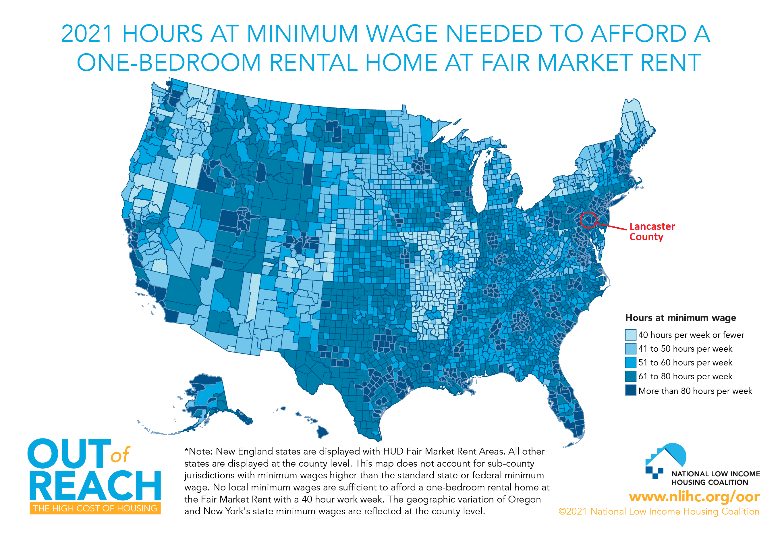 A county-by-county map showing how many hours one would need to work at minimum wage to afford a one-bedroom apartment. In Lancaster County, it would take 86 hours. Click to enlarge. (Source: National Low Income Housing Coalition)