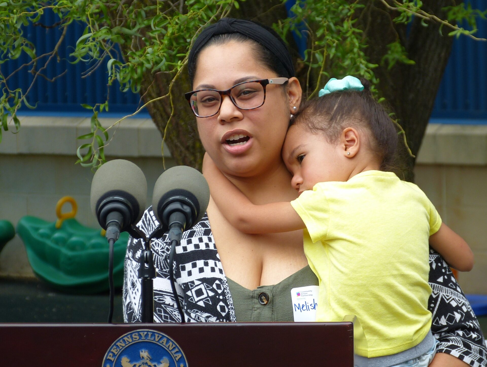 Melisha Melecio holds her daughter, Kamilah Montalvo, 4, while talking about early childhood education at the Community Action Partnership of Lancaster County on Thursday, July 8, 2021. (Photo: Tim Stuhldreher)