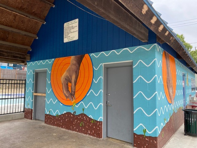 The Culliton Park pavilion, just the the right of the pool. Art is by local artist, Salina Almanzar. (Photo: Olivia Smucker)