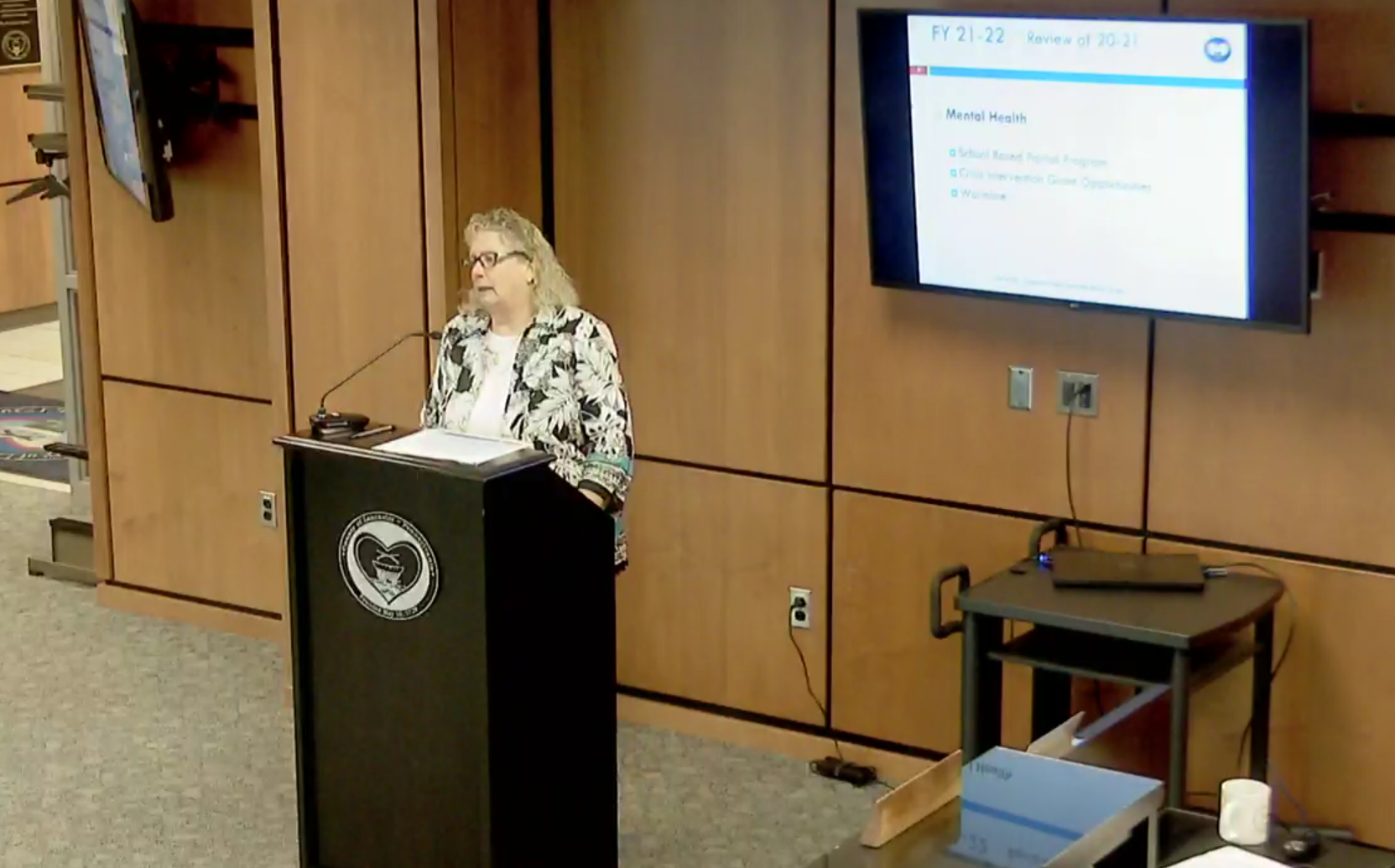 Julie Holtry, deputy director, Lancaster County Behavioral Health & Developmental Services, speaks about planned enhancement to crisis intervention at a hearing on Thursday, July 8, 2021. (Source: co.lancaster.pa.us)