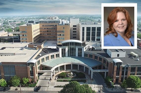 Lancaster General Hospital. Inset: Mary LeVasseur. (Source: Penn Medicine Lancaster General Health)