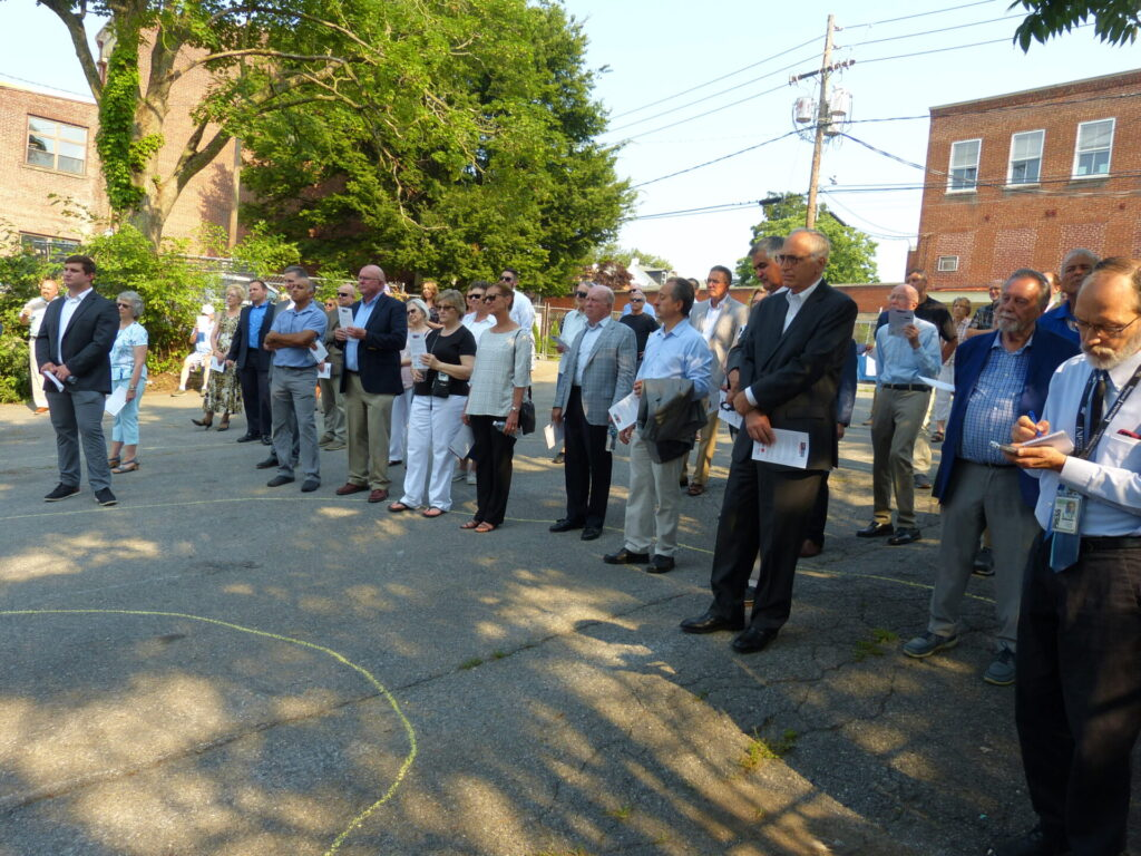 Audience members listen to the Blessing the Ground ceremony for Landis Place on King on Wednesday, July 7, 2021. (Photo: Tim Stuhldreher)