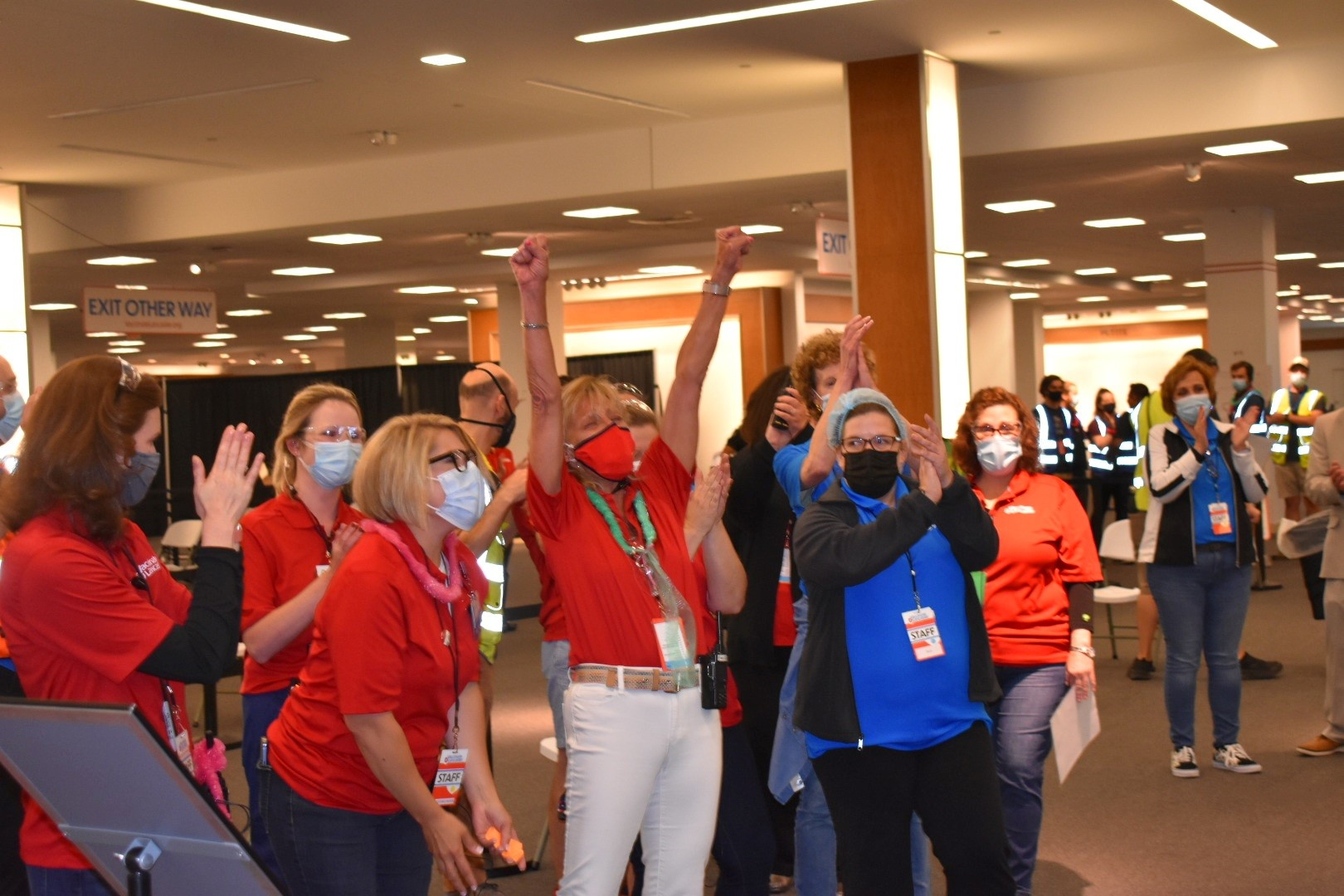Staff cheer the final dose administered at the community vaccination center at Park City Center mall on Wednesday, June 30, 2021. (Source: Vaccinate Lancaster Coalition)