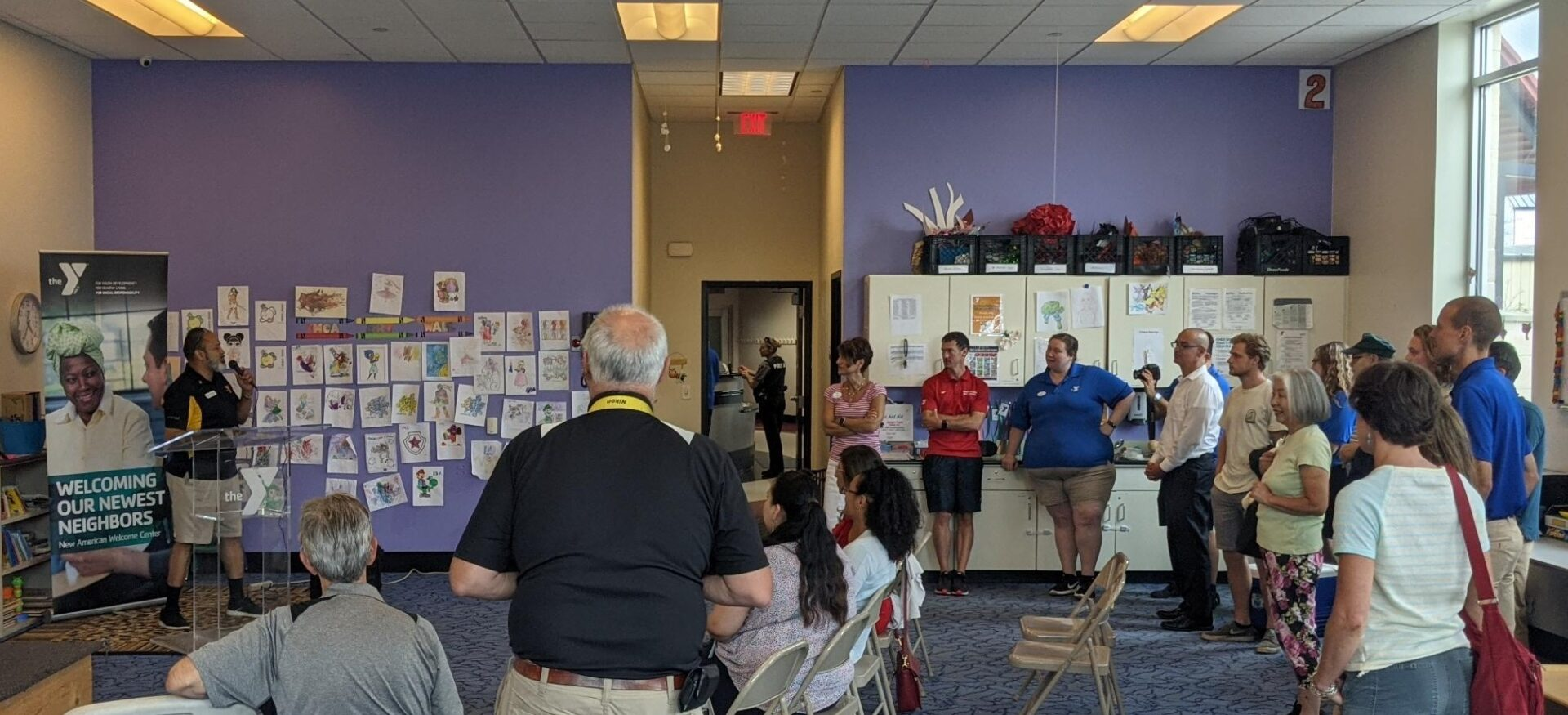 Director Jose Santiago speaks to YMCA and Lancaster community leaders at the opening of the New American Welcome Center at the Center City YMCA in Lancaster on Thursday, July 8, 2021. (Source: OUL)