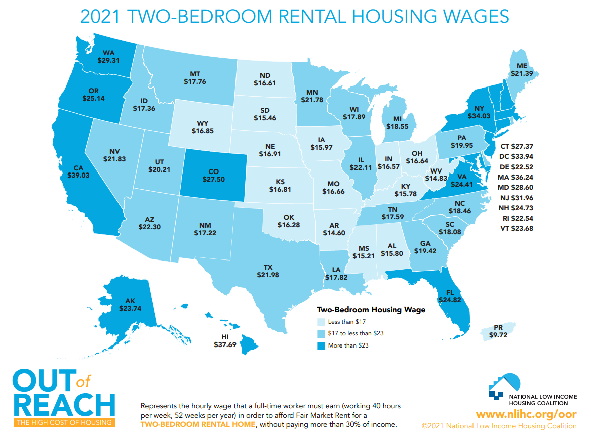 This map shows the hourly wage needed in each state to afford a two-bedroom apartment. Click to enlarge. (Source: National Low Income Housing Coalition)