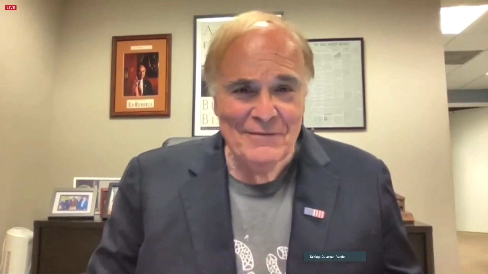 Former Pa. Gov. Ed Rendell speaks via Zoom to a media conference on raising the minimum wage on Friday, July 9, 2021. (Source: Pa.gov)
