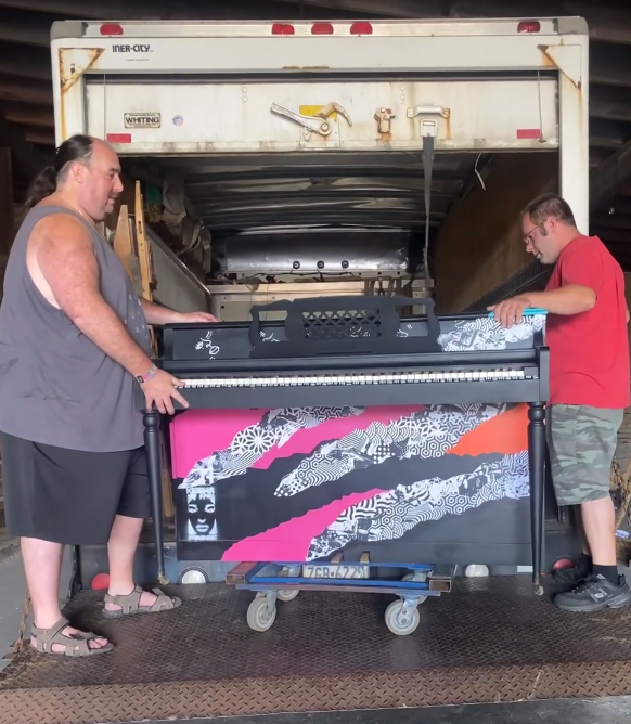 The piano that will sit in front of Tellus360 gets loaded up for delivery as part of 2021 Keys for the City. (Source: Music For Everyone)
