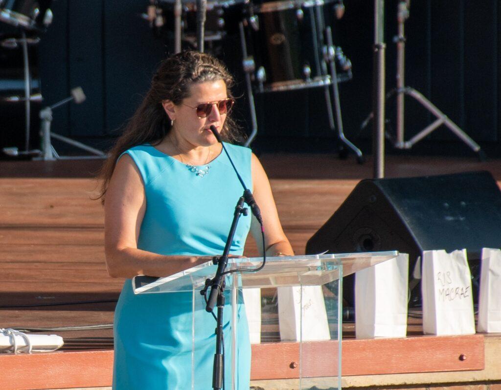 "Lancaster Mayor Danene Sorace speaks at ""A Day of Healing"" at Longs Park on Thursday, Aug. 12, 2021. (Photo: Kevin Ressler)"