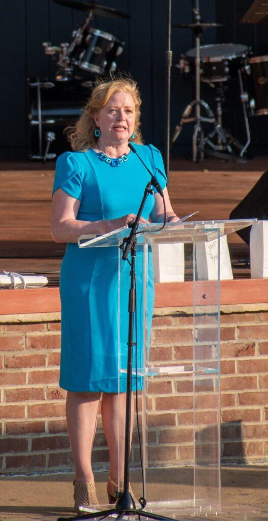 "Cheri Rinehart, President & CEO, Pennsylvania Association of Community Health Centers, speaks at ""A Day of Healing"" at Longs Park on Thursday, Aug. 12, 2021. (Photo: Kevin Ressler)"