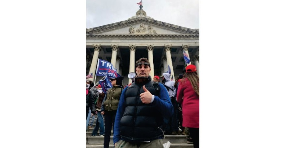 Edward McAlanis is seen outside the Capitol on Wednesday, Jan. 6, 2021. (Source: FBI)