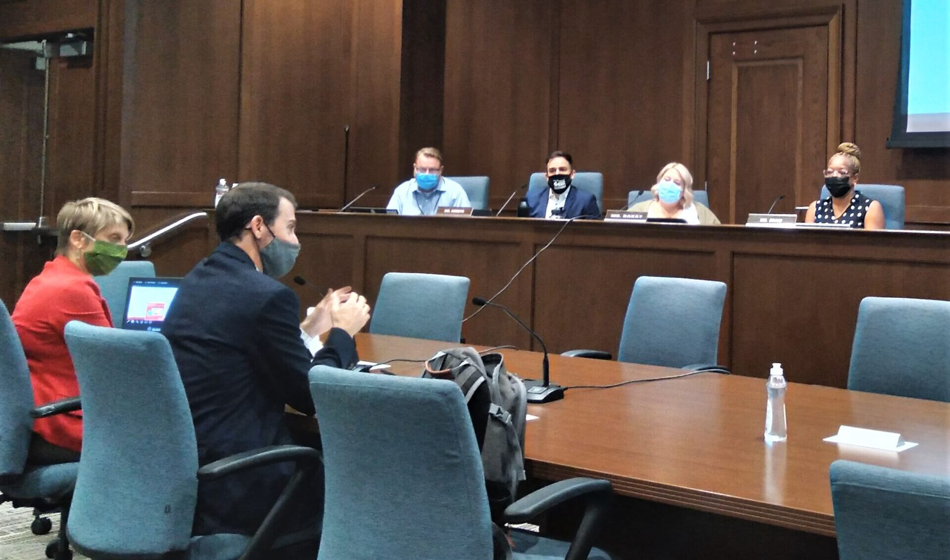 From left, Deputy Director Rebecca Geiser and Director Chris Delfs of the Department of Community Planning & Economic Development discuss proposed changes to Lancaster's lead hazard control ordinance at a City Council committee meeting on Tuesday, Sept. 7, 2021. (Photo: Tim Stuhldreher)