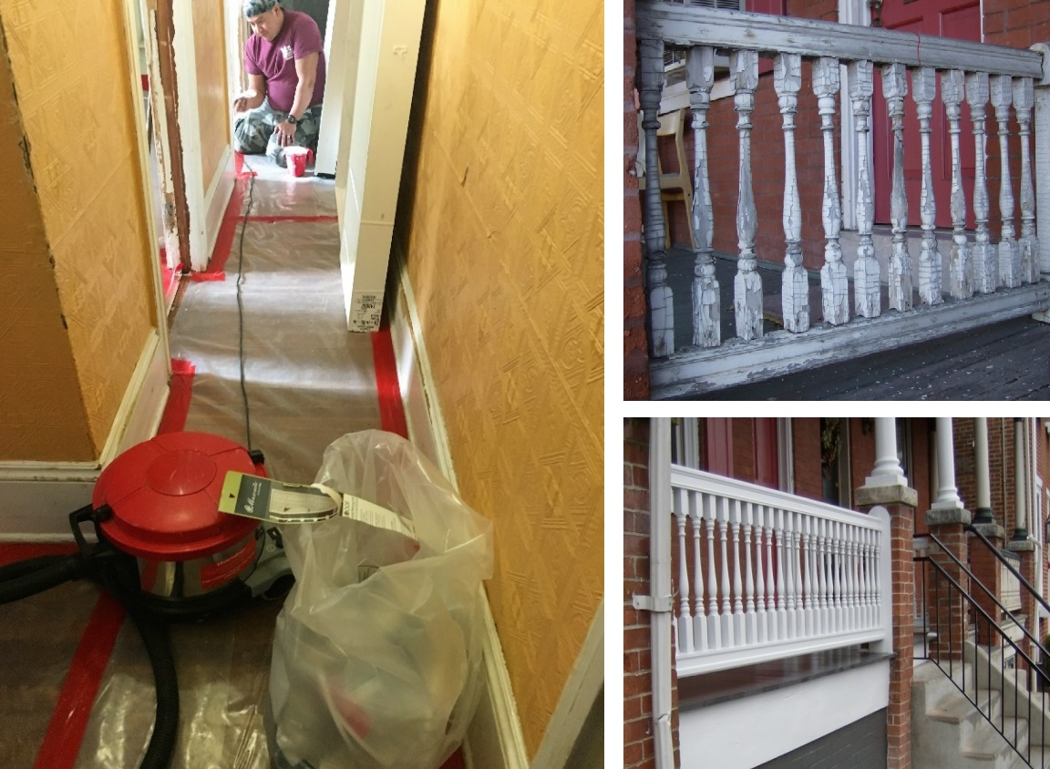 At left, a worker repaints a door frame during a lead abatement project. At right, before (top) and after (bottom) photos illustrate the results of lead abatement. (Source: City of Lancaster)