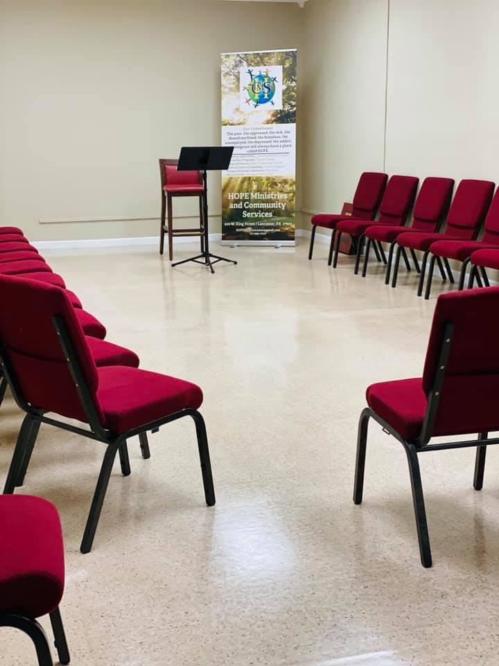 A meeting room at Hope Ministries & Community Services. (Source: Provided)