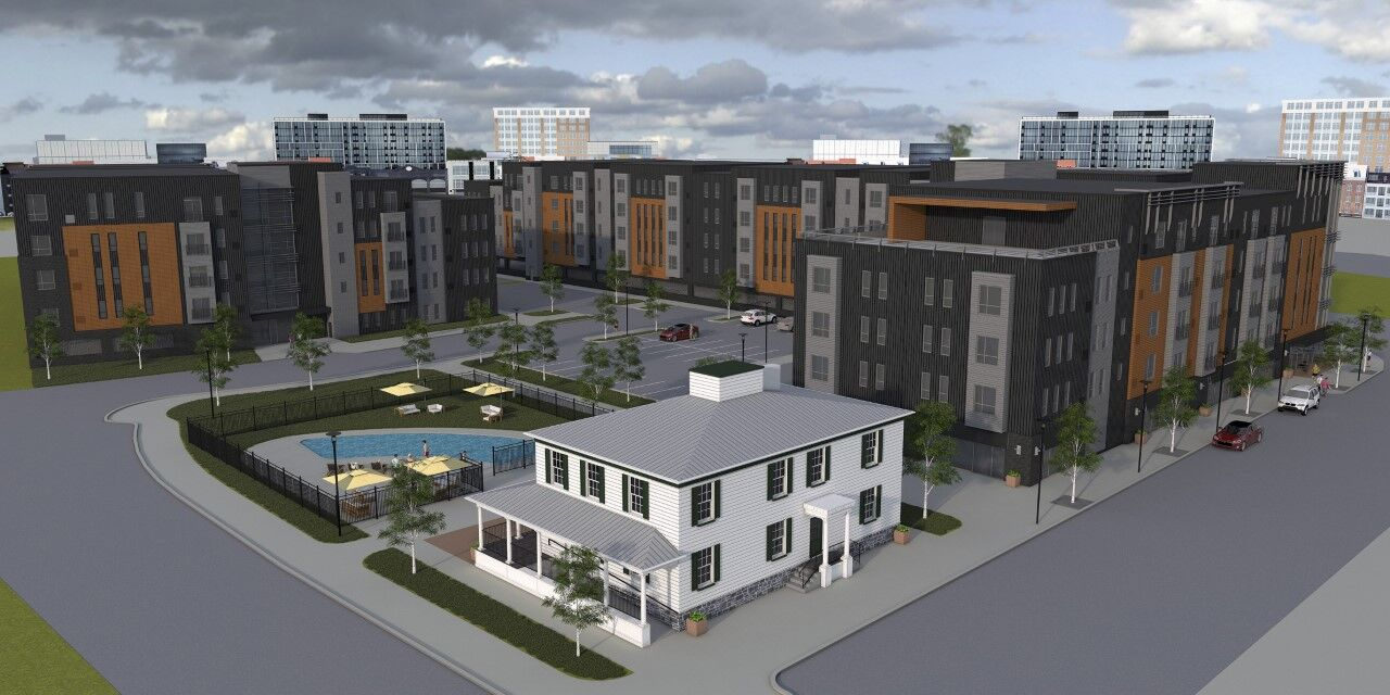 A rendering of the apartment complex proposed for the Stockyard Inn site. (Source: SDL Devco)