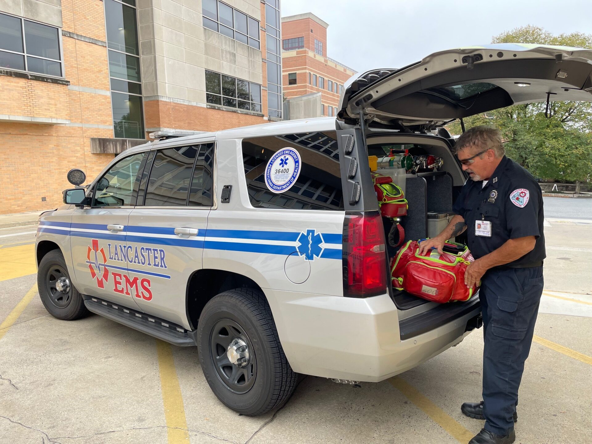 Capt. Joe Carr of Lancaster EMS explains some of the supplies that paramedics use during a tour on Tuesday, Oct. 5, 2021. (Photo: Kyle Gamble)