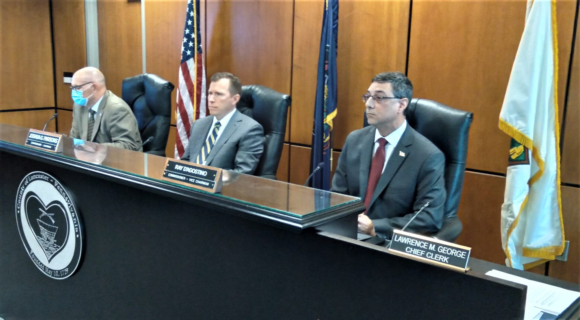 From left, Lancaster County Commissioners Craig Lehman, Josh Parsons and Ray D'Agostino listen to discussion of a proposed Health Advisory Council on Tuesday, Oct. 5, 2021. (Photo: Tim Stuhldreher)