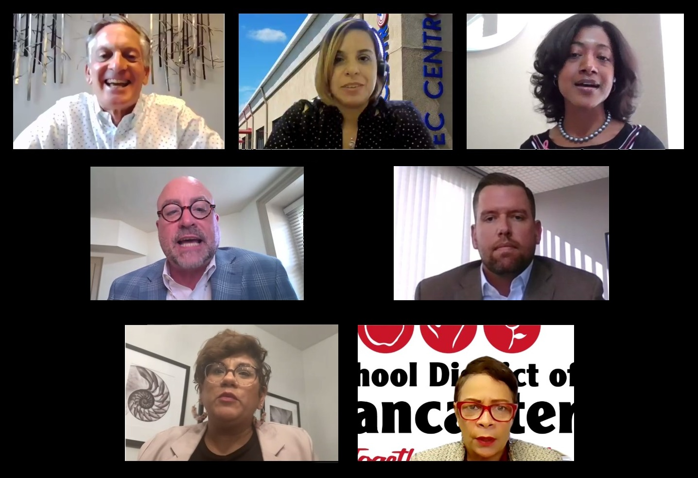 This montage shows participants in United Way of Lancaster County's online forum on workforce issues on Friday, Oct. 22, 2021. Top, from left: Tom Baldrige, Marlyn Barbosa, Selena Coachman. Middle, from left: Scott Fiore, Brian Lois. Bottom, from left: Vanessa Philbert, Damaris Rau. (Source: United Way of Lancaster County)